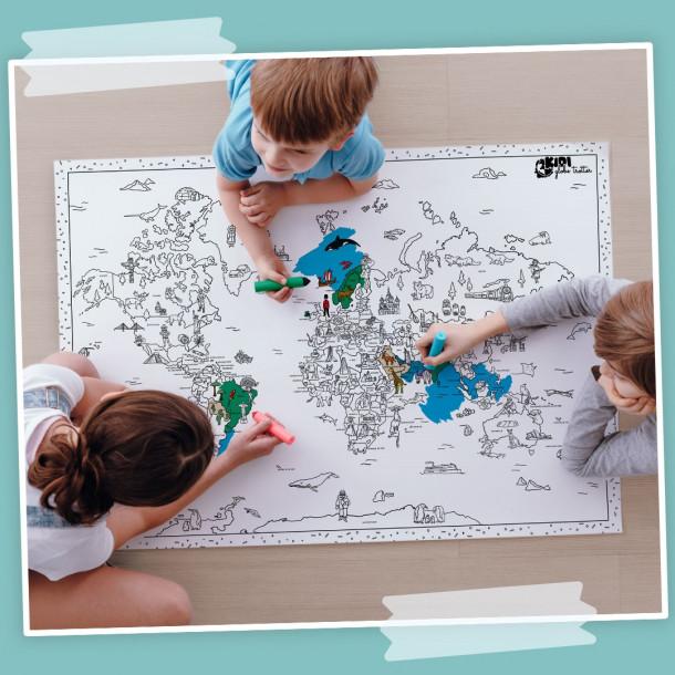 Carte du monde géante à colorier